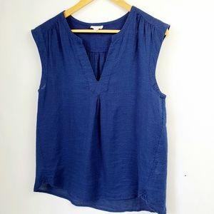 Soft Joie Sleeveless Linen Blouse Dark Blue SZ M